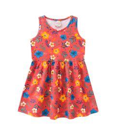 Vestido-Infantil---Meia-Malha---Floral---Laranja---Brandili---1