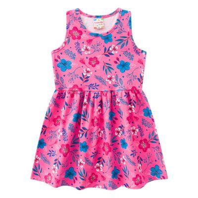 Vestido-Infantil---Meia-Malha---Floral---Rosa---Brandili---1