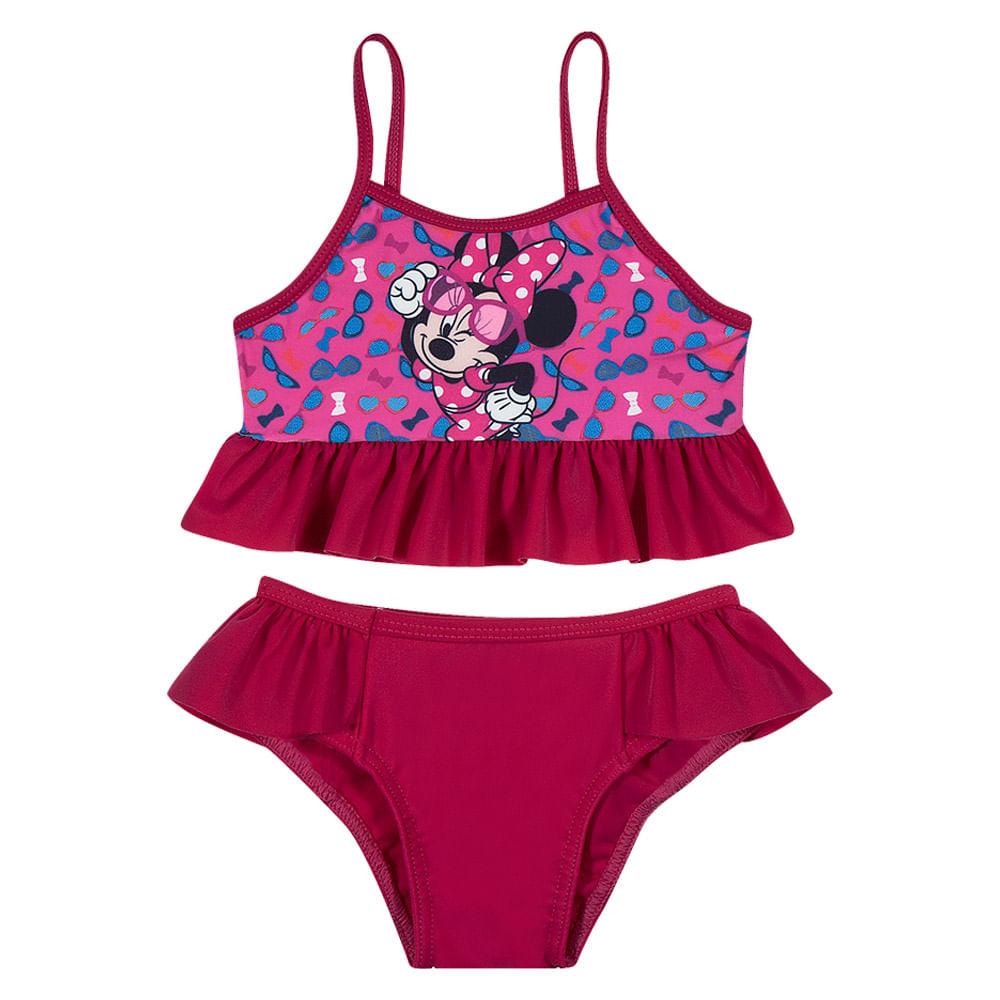 Conjunto de Praia - Top com Babado e Calcinha - Disney - Minnie Mouse - Pink - Tip Top