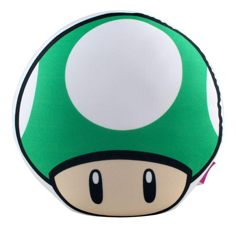 6fa26a792 Almofada - Super Mario Bros - Formato Cogumelo - Verde - Zona ...