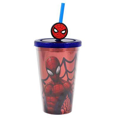 Copo-com-Canudo---350Ml---Disney---Marvel---Homem-Aranha---Zona-Criativa