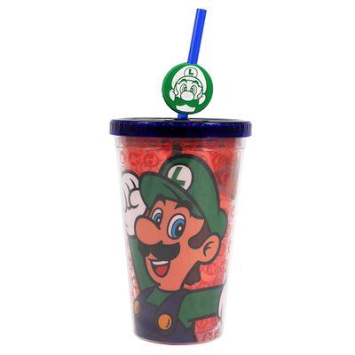 Copo-com-Canudo---500Ml---Pingente-Luigi---Super-Mario-Bros---Zona-Criativa