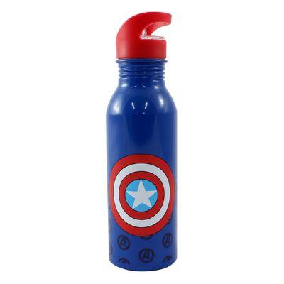 Garrafa-de-Aluminio-com-Canudo-Retratil---600Ml---Disney---Marvel---Capitao-America---Zona-Criativa