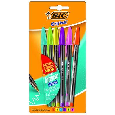 Conjunto-de-Caneta-Esferografica---1.6mm---Cristal---6-Unidades---Intenso-Fashion---Multicolor---BIC