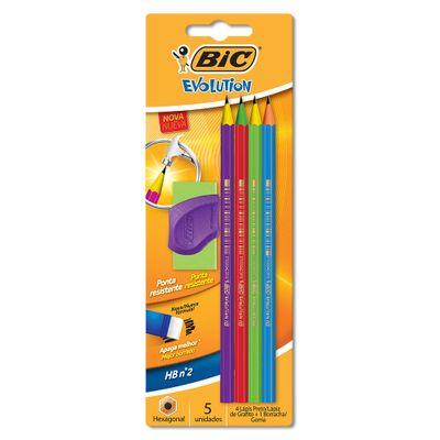 Conjunto-de-Lapis-de-Escrever-com-Borracha---Preto---Hexagonal---Evolution-Colors---BIC