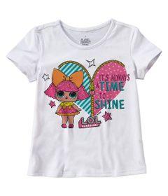 Camisa-Infantil---Manga-Curta---Meia-Malha---Branco-Estampada---LOL-Surprise----Malwee