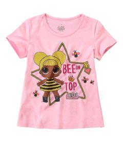 Camisa-Infantil---Manga-Curta---Meia-Malha---Rosa-Estampada---LOL-Surprise----Malwee