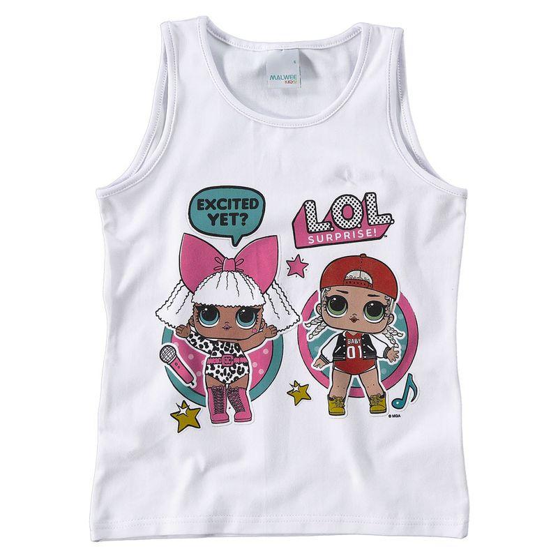 Regata Infantil - Cotton - Branco Estampado - LOL Surprise! - Malwee ... 7cf500ced1a01