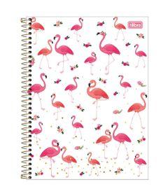 Caderno-de-Espiral---Capa-Dura---Colegial---Aloha---Flamingos---10-Materias---Tilibra