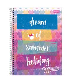 Caderno-de-Espiral---Capa-Dura---Colegial---Disney---Minnie-Mouse---Summer-Holiday---10-Materias---Tilibra