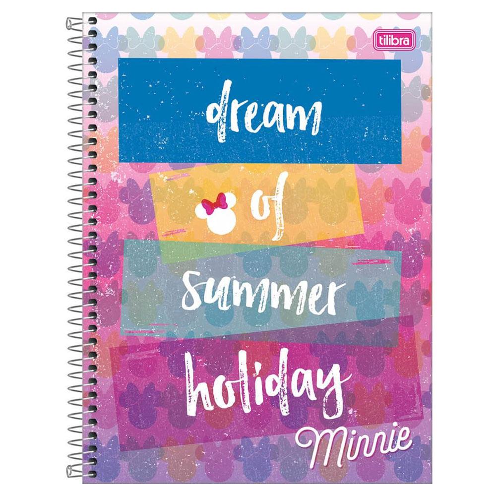 Caderno de Espiral - Capa Dura - Colegial - Disney - Minnie Mouse - Summer Holiday - 10 Matérias - Tilibra