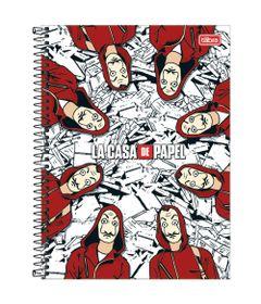 Caderno-de-Espiral---Capa-Dura---Colegial---La-Casa-De-Papel---10-Materias---Tilibra