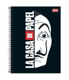 Caderno-de-Espiral---Capa-Dura---Colegial---La-Casa-De-Papel---Mascaras---10-Materias---Tilibra