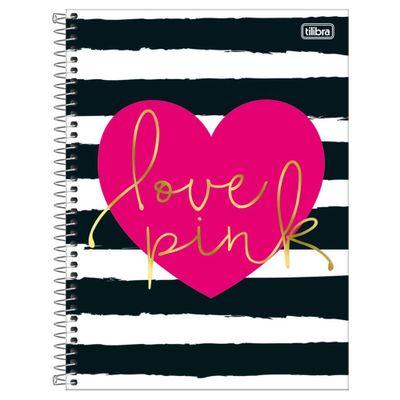 Caderno-de-Espiral---Capa-Dura---Colegial---Love-Pink---Capa-Preto-E-Branco---10-Materias---Tilibra