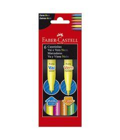 Canetas-Hidrograficas---Vai-e-Vem---6-Cores---Faber-Castell