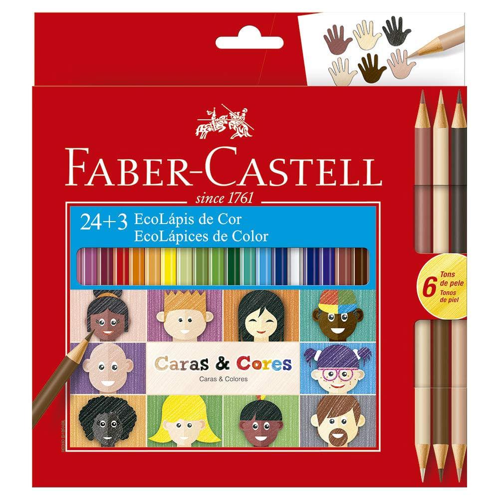 Lápis de Cor - Sextavado - Caras e Cores - 24 Cores + 3 - Faber-Castell