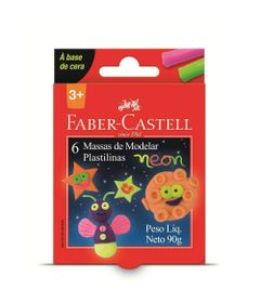 Massa-de-Modelar---Base-de-Cera---6-Cores-Neon---Faber-Castell