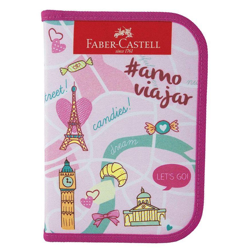 Estojo-Escolar---Nylon---Let-s-Go---Rosa---Faber-Castell