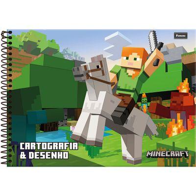 Caderno-de-Cartografia-E-Desenho---Minecraft---Personagem---96-Folhas---Foroni