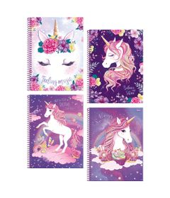 Cadernos-de-Espiral---Capa-Dura---Universitario---Unicornio---96-Folhas---4-Unidades---Foroni