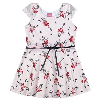 Vestido-Infantil---Jacquard---Fadas---Rosa-com-Lacinho-Preto---Kamylus_Frente