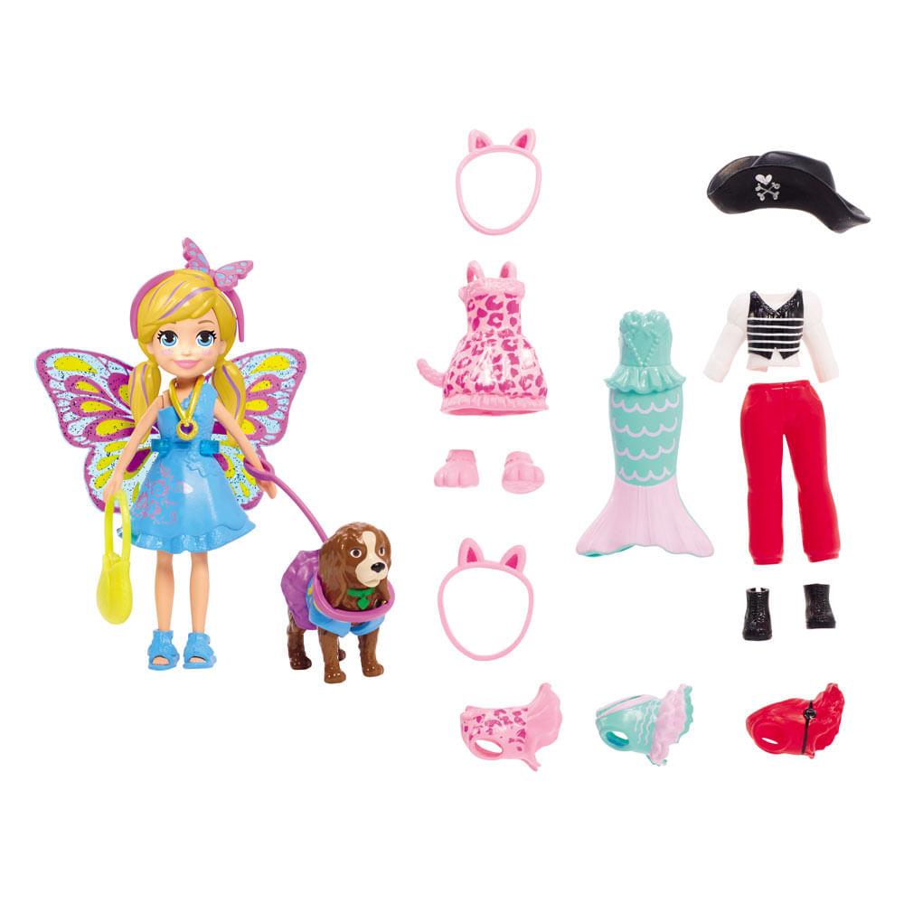 Boneca e Acessórios - Polly Pocket - Polly e Cachorrinho com Fantasias - Mattel