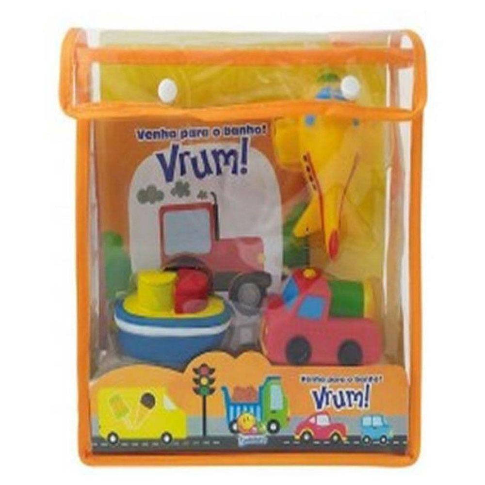 Livro Infantil com Veículos de Borracha - Venha para o Banho! - Vrum! - TodoLivro