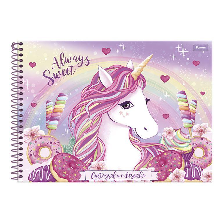Caderno De Cartografia E Desenho Unicórnio Always Sweet