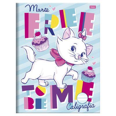 Caderno-de-Brochura---Caligrafia---Disney---Marie-I---96-Folhas---Foroni_Frente
