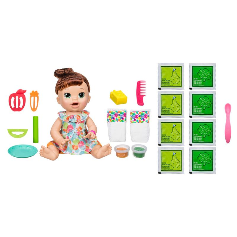 f193f61d43 Kit Boneca Baby Alive - Comilona - Morena - E3402 e Refil de Comida - Hasbro  - Ri Happy Brinquedos