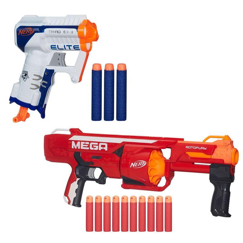 8612908914 Kit de Lançadores - Nerf Mega Rotofury e Nerf N-Strike Elite - Triad EX-3 -  Hasbro - Ri Happy Brinquedos
