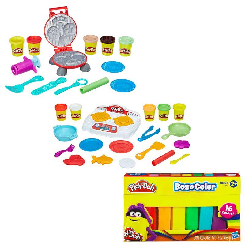 2d81106515 Kit Conjunto Play-Doh - Criações no Fogão e Festa do Hambúrger com Refil de  16 Cores - Hasbro - Ri Happy Brinquedos
