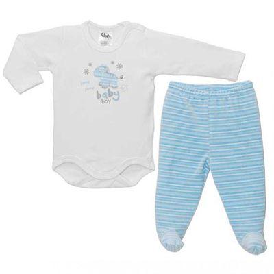 3435ee29e Conjunto Body Manga Longa e Calça Culote - Zebrinha - Branco e Azul - BB2