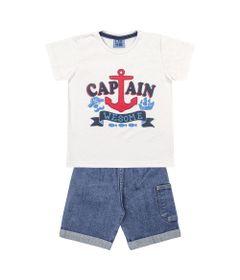 Conjunto-Bermuda-e-Camiseta-em-Algodao---Ancora---Branco-e-Azul---Duduka