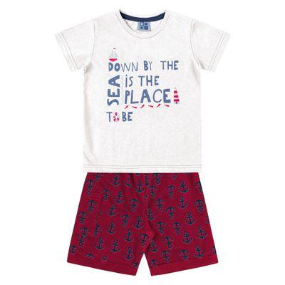 Conjunto-Camiseta-e-Bermuda-em-Algodao---Branco-e-Vermelho---Duduka