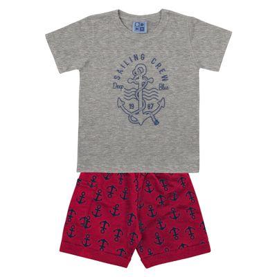 Conjunto-Camiseta-e-Bermuda-em-Algodao-e-Tactel---Ancora---Cinza-e-Vermelho---Duduka