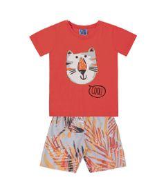 Conjunto-Camiseta-e-Bermuda-em-Algodao-e-Tactel---Gato---Laranja---Duduka