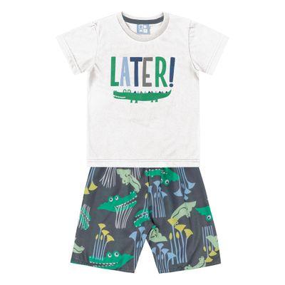 Conjunto-Camiseta-e-Bermuda-em-Algodao-e-Tactel---Jacare---Branco-e-Cinza---Duduka