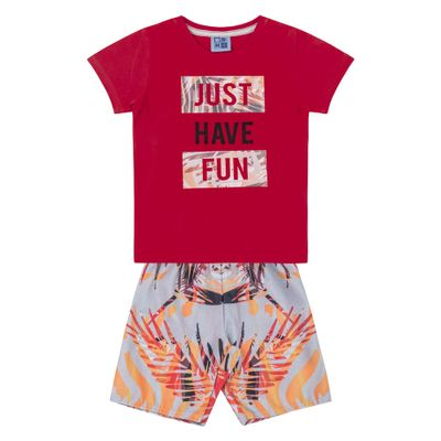Conjunto-Camiseta-e-Bermuda-em-Algodao-e-Tactel---Vermelho-e-Cinza---Duduka