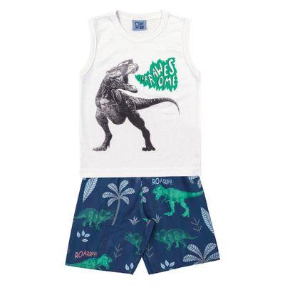 Conjunto-Regata-e-Bermuda-em-Algodao-e-Tactel---Dinossauro---Branco-e-Azul-Marinho---Duduka
