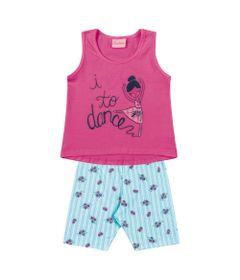 Conjunto-Regata-e-Short-em-Algodao---Floral---Rosa-e-Azul---Duduka