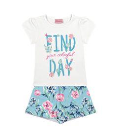 Conjunto-Short-e-Blusa-em-Algodao---Floral---Branco-e-Azul---Duduka