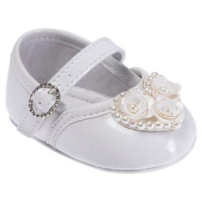 Sapatilha-para-Bebes---Batizado---Perolas-e-Flores---Branca---Pimpolho