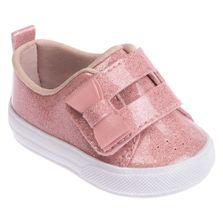 Tenis-para-Bebes---Velcro-Duplo-com-Glitter-e-Laco---Rosa---Pimpolho