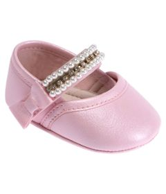 Sapatilha-Para-Bebes---Bailarina---Courinho-e-Strass---Rosa---Pimpolho