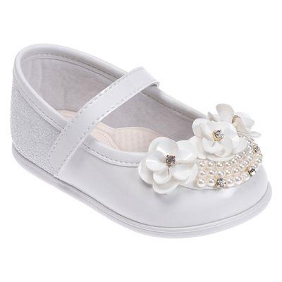 Sapatilha-Para-Bebes---Batizado---Flores-e-Perolas---Branca---Pimpolho