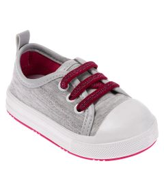 Tenis-Para-Bebes---Tecido-e-Cadarco-Lurex---Cinza-e-Rosa---Pimpolho