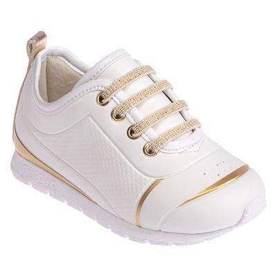 Tênis Para Bebês - Esportivo - Courinho e Cadarço - Branco e Dourado - Pimpolho - 27