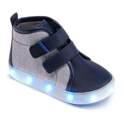 Tenis-Para-Bebes---Cano-Alto-e-Solado-LED---Azul-e-Cinza---Pimpolho