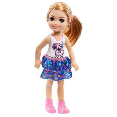 Mini-Boneca---Familia-da-Barbie---Chelsea-Club---Loira-Com-Saia-de-Letrinhas---Mattel